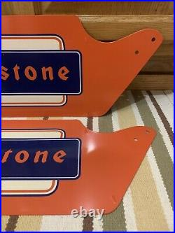 Vintage Firestone Tire Stand Gas Station Dealer Display Stand Sign Oil Decor 2