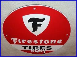 Vintage Firestone Tires 11 3/4 Porcelain Metal Gasoline & Oil Sign Pump Plate