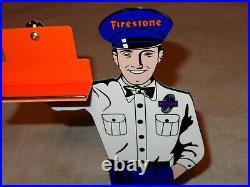 Vintage Firestone Tires 12 Metal Business Card Holder Tire Gasoline & Oil Sign