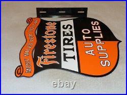 Vintage Firestone Tires & Auto Supplies 17 Porcelain Metal Gasoline Flange Sign