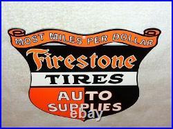 Vintage Firestone Tires Auto Supplies Die-cut 12 Metal Tire Gasoline Oil Sign