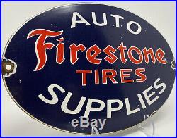 Vintage Firestone Tires & Auto Supplies Porcelain Sign Gas Oil Michelin Goodyear