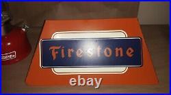 Vintage Firestone Tires Dealer Gas Station Display Metal Sign Stand