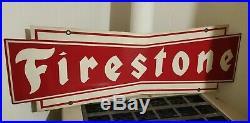 Vintage Firestone Tires Metal Sign Double Sided Original c. 1950