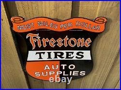 Vintage Firestone Tires Porcelain Flange Sign Shield Station Gas Auto Supplies