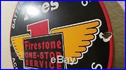 Vintage Firestone Tires Porcelain Gas Auto Batteries Service Sales Dealer Sign