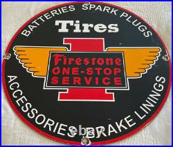 Vintage Firestone Tires Porcelain Sign Service Auto Supplies Gas Spark Plug Oil
