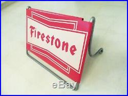 Vintage Firestone Truck Tire Sign Gas Station Metal Garage Old Original Box Rare