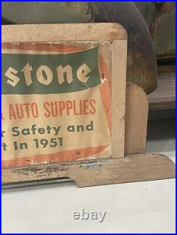 Vintage Firestone tires home auto supply paper and wood sign 1951
