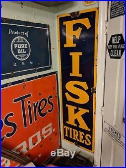 Vintage Fisk Tire Original Porcelain Sign 1930'S Gas Station