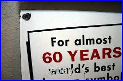 Vintage Fisk Tires Porcelain Enamel Steel Sign Veribrite Signs Chicago 1958