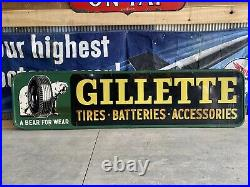 Vintage GILLETTE Gas Oil Soda General Store SIGN not porcelain tires batteries