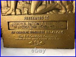Vintage GOODRICH ATLAS Scene ART DECO LINCOLN BATTERY & TIRE Cast Iron Plaque