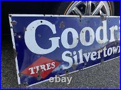 Vintage GOODRICH SILVERTOWNS Porcelain Tire Sign 1930s ORIGINAL PORCELAIN 58X18