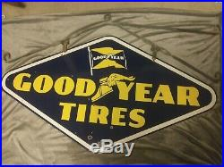 Vintage GOODYEAR TIRES Porcelain 1952 Sign Gas Oil Gasoline Very Good Condition