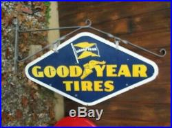 Vintage GOODYEAR TIRES Porcelain 1953 Sign Gas Oil Gasoline Very Good Condition