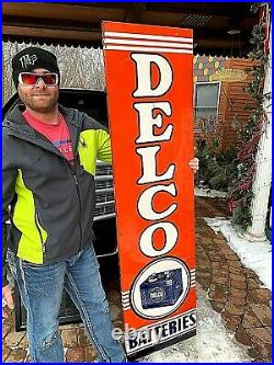 Vintage GR8 Shape! Delco Tire Battery Vertical Sign Gasoline Gas Oil 71X19in