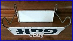 Vintage GULF Tin Metal Tire Stand Advertising Tire Display Holder
