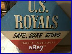 Vintage Garage Tire Sign Us Royal Tires Tire Display Old Original Safe Sure