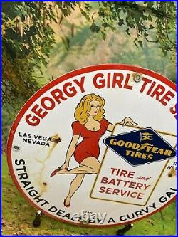 Vintage Georgy Girl Goodyear Tire Gas Porcelain Sign Gas Pump Station