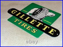 Vintage Gillette Tires A Polar Bear For Wear 12 Metal Tire Gasoline & Oil Sign