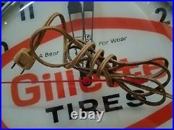 Vintage Gillette Tires Pam Clock Co Bear Gas Oil Station Sign Hanging