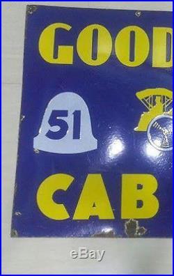 Vintage Good Year Cab Carraige Tyres tire Enamel Porcelain Sign Size 35X24