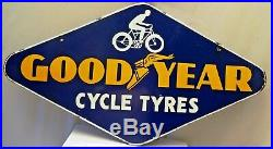 Vintage Good Year Cycle Tire Porcelain Enamel Sign Double Sided Collectibles Old