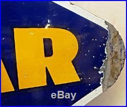Vintage Good Year Tire Advertising Sign Rhombus Shape Porcelain Enamel Collectib