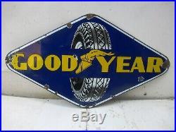 Vintage Good Year Tire Tyre Advertising Sign Porcelain Enamel Hexagon Shape45