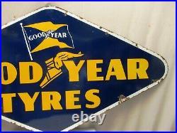Vintage Good Year Tire Tyre Sign Board Porcelain Enamel Rhombus Double Sided