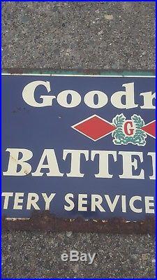 Vintage Goodrich Batteries Metal Sign Tires Gas Oil Garage Battery Service Tin
