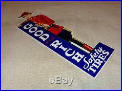 Vintage Goodrich Safety Tires + Mounted Police 15 Metal Gasoline & Oil Sign Cop