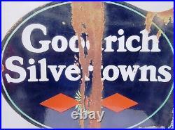 Vintage Goodrich Silvertowns Tire Porcelain Enamel Sign Double Sided Flange USA