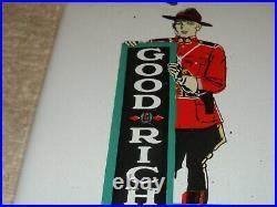 Vintage Goodrich Tires Mountie Police Cop 7 Porcelain Metal Gasoline & Oil Sign