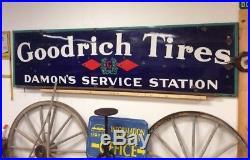 Vintage Goodrich Tires Porcelain Sign Damons Service Station Advertising Huge
