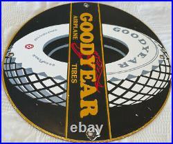 Vintage Goodyear Airplane Tires Porcelain Sign Gas Station Pump Motor Oil Dunlop