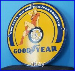 Vintage Goodyear Motorcycle Porcelain Gas Wide Tires Service Station Pump Sign