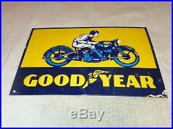 Vintage Goodyear Motorcycle Tires 18 X 12 Porcelain Metal Gasoline Oil Sign
