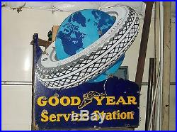 Vintage Goodyear Service Station 28 X 30 Metal Tires, Gas+ Oil Sign Pump Plate