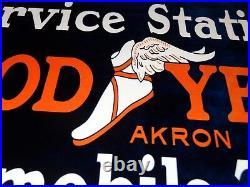 Vintage Goodyear Service Station Automobile Tires 12 Metal Gasoline & Oils Sign