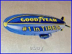 Vintage Goodyear Tires Die-cut Blimp Zeppelin 12 Metal Tire Gasoline & Oil Sign