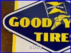Vintage Goodyear Tires Embossed Metal Sign 7-55