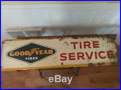 Vintage Goodyear Tires Gas Station 11 1/2×44 Embossed Metal Sign