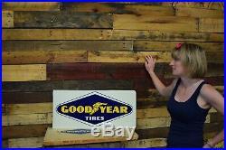Vintage Goodyear Tires NOS in BOX Flange Sign Chevrolet Dealership Dealer GM OK