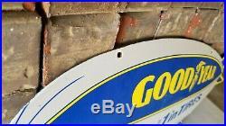 Vintage Goodyear Tires Porcelain Double Side Aviation Blimp Service Sales Sign
