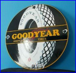 Vintage Goodyear Tires Porcelain Gas Aviation Airplane All Weather Service Sign