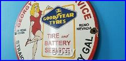 Vintage Goodyear Tires Porcelain Gas Curvy Gal Girl Service Station Pump Sign