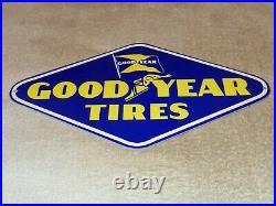 Vintage Goodyear Tires Winged Foot & Flag Die-cut 13 Metal Gasoline Oil Sign