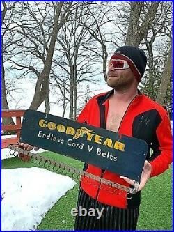 Vintage Goodyear V Belts Display Rack Metal Sign gas oil tires 26X8